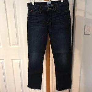 Hudson Straight Leg Jeans with Fringe Bottom